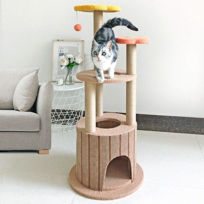 Cat Climbing Frame Cat Scratching Post Tree Scratcher Pole Furniture Gym Kitten Pet House Toy Cat Jumping Platform With Ball