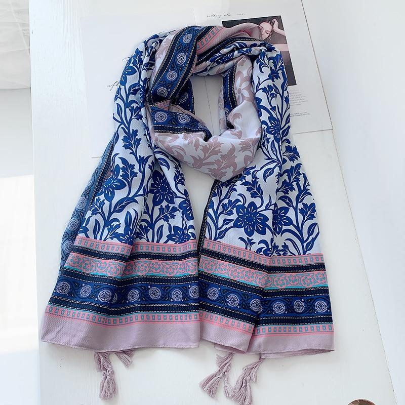 2021 Women Autumn Spain Viscose Shawl Navy Blue Millions Floral Tassel Scarf Wrap Pashmina Snood Bufandas Muslim Hijab 180*90cm