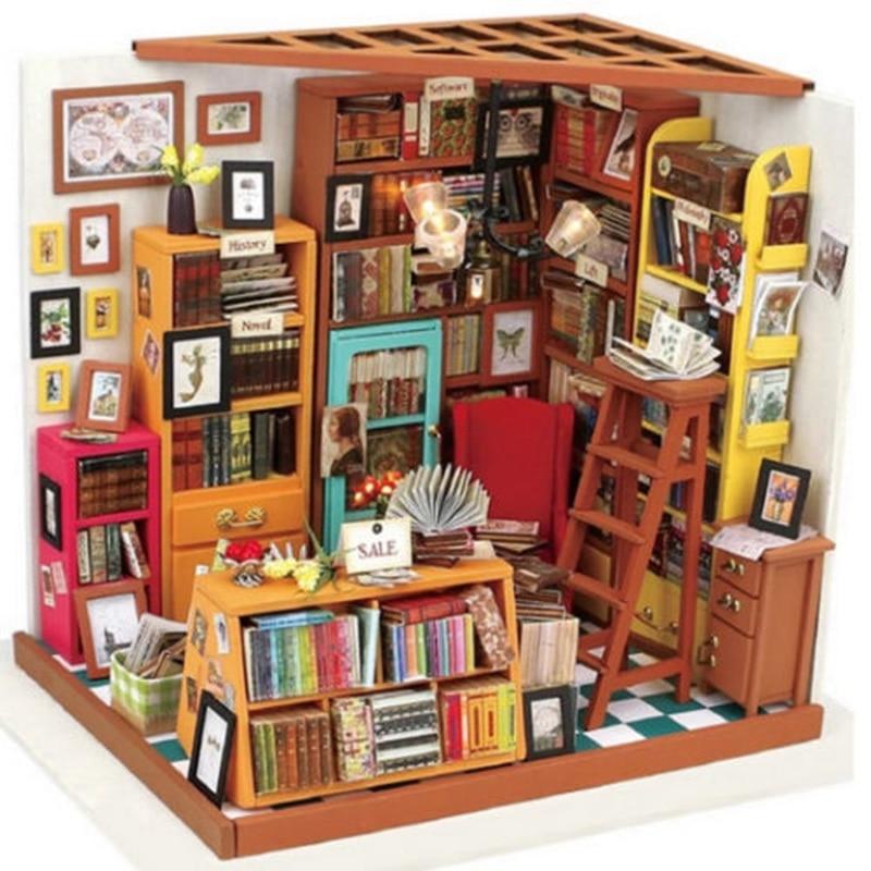 DIY Hand Make Dollhouse The Book Shop Dollhouse Miniature Dust Cover 3D LED Furniture Kit Light Box Gift For Children