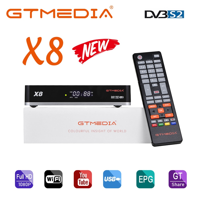 Nuevo GTmedia 8X DVB-S/S2/S2X construido en 2,4G soporte WiFi BISS de rollo completo PowerVu WebTV y VCM/ACM/multi-stream/T2-MI AVS +