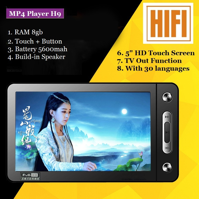 Reproductor mp4 portátil de 5 pulgadas 8gb tv pantalla táctil reproductor de vídeo mp3 mp4 altavoz incorporado con reproductor de música de 30 idiomas