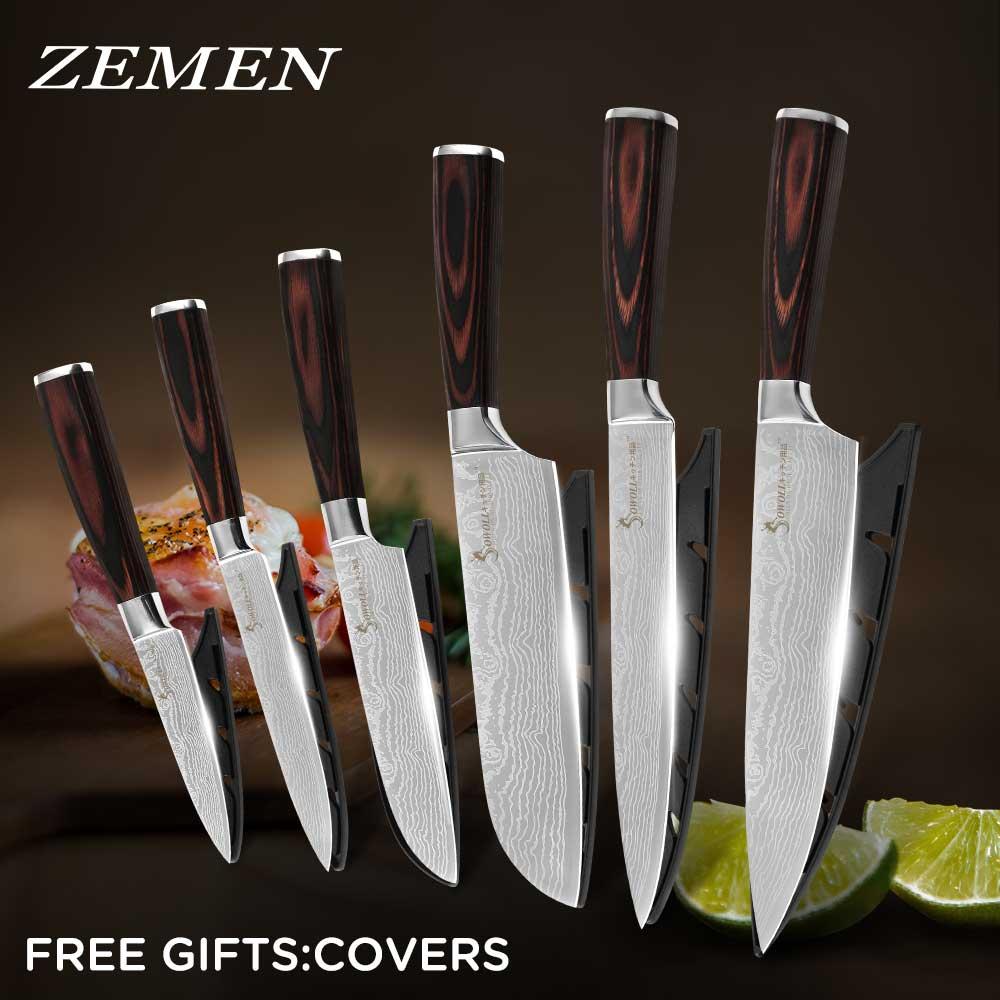 Zemen venda superior faca de cozinha de aço inoxidável conjuntos de faca de carne vegetal de frutas faca antiaderente lâmina de esforço-saving lidar com facas