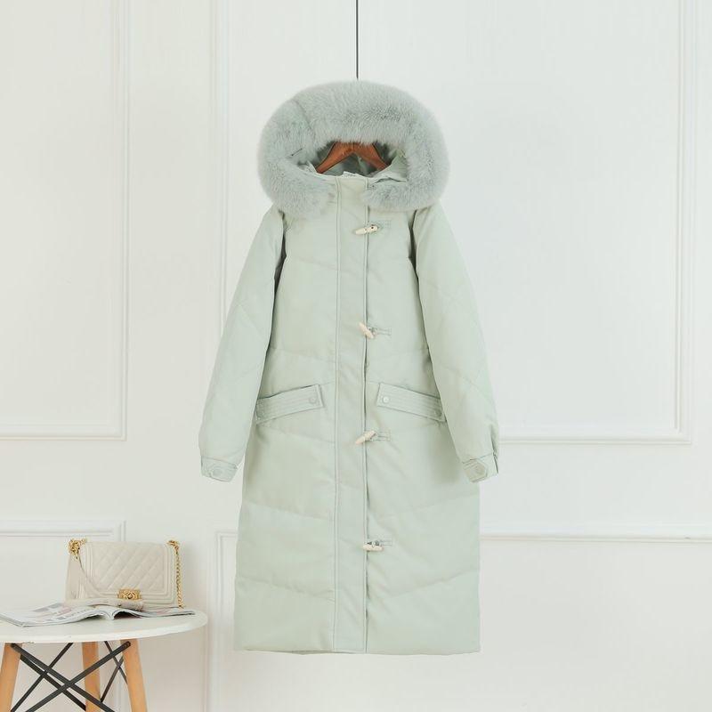 الأبيض بطة أسفل سترة الإناث الشتاء 2021 مقنعين معطف بياقة من الفرو المرأة الدافئة سميكة سترات النمط الكوري Casaco Feminino Gxy169