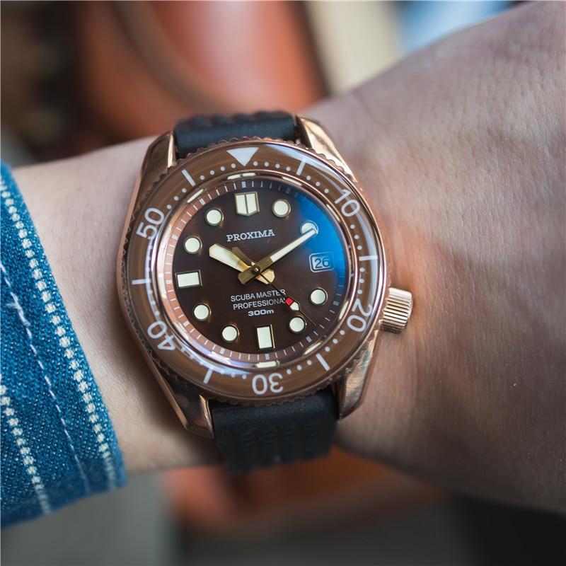 ساعة رجالية مقاومة للماء ، ساعة يد رجالية من برونز الغوص NH35 ، ساعة يد أوتوماتيكية من الياقوت والزجاج ، مقاومة للماء حتى 300 متر ، ميكانيكية ، AAA ...