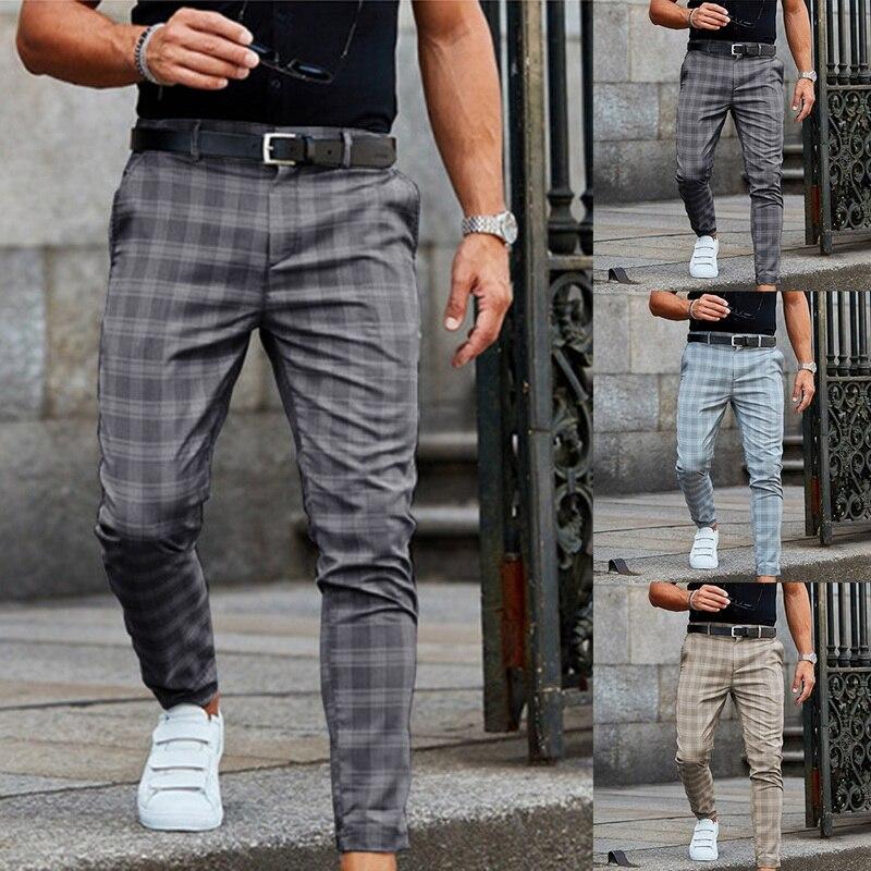 Новинка 2021, мужские брюки, повседневные мужские брюки, облегающие Стрейчевые мужские брюки, облегающие мужские повседневные брюки в клетку