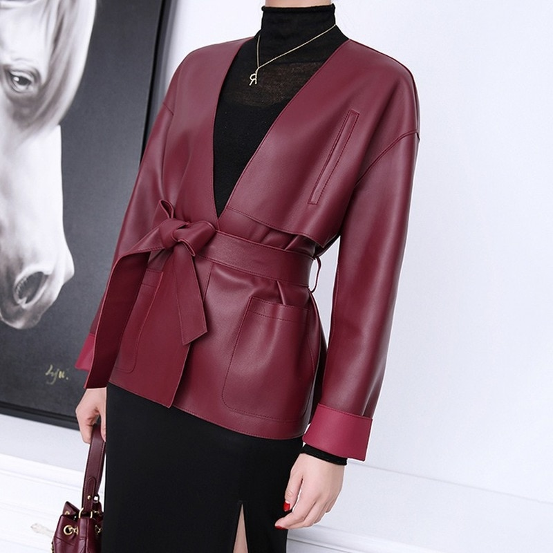 Autumn Spring Black Red Real Sheepskin Genuine Leather Suit Casual Jackets Womens Overcoat Korean Jacket Coats Suits Outerwear