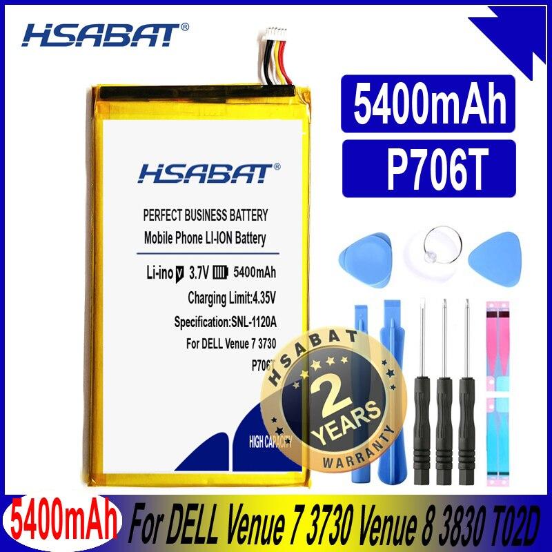 HSABAT P706T 5400mAh batería para DELL Venue 7 3730 Venue 8 3830 P708 T02D T01C T02D002 T02D001 0CJP38 02PDJW baterías