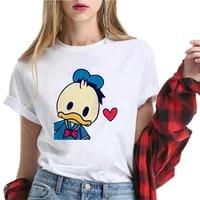 cute disney series women tshirt cartoon donald duck female teeshirt funny white round neck short sleeve summer top girl favorite