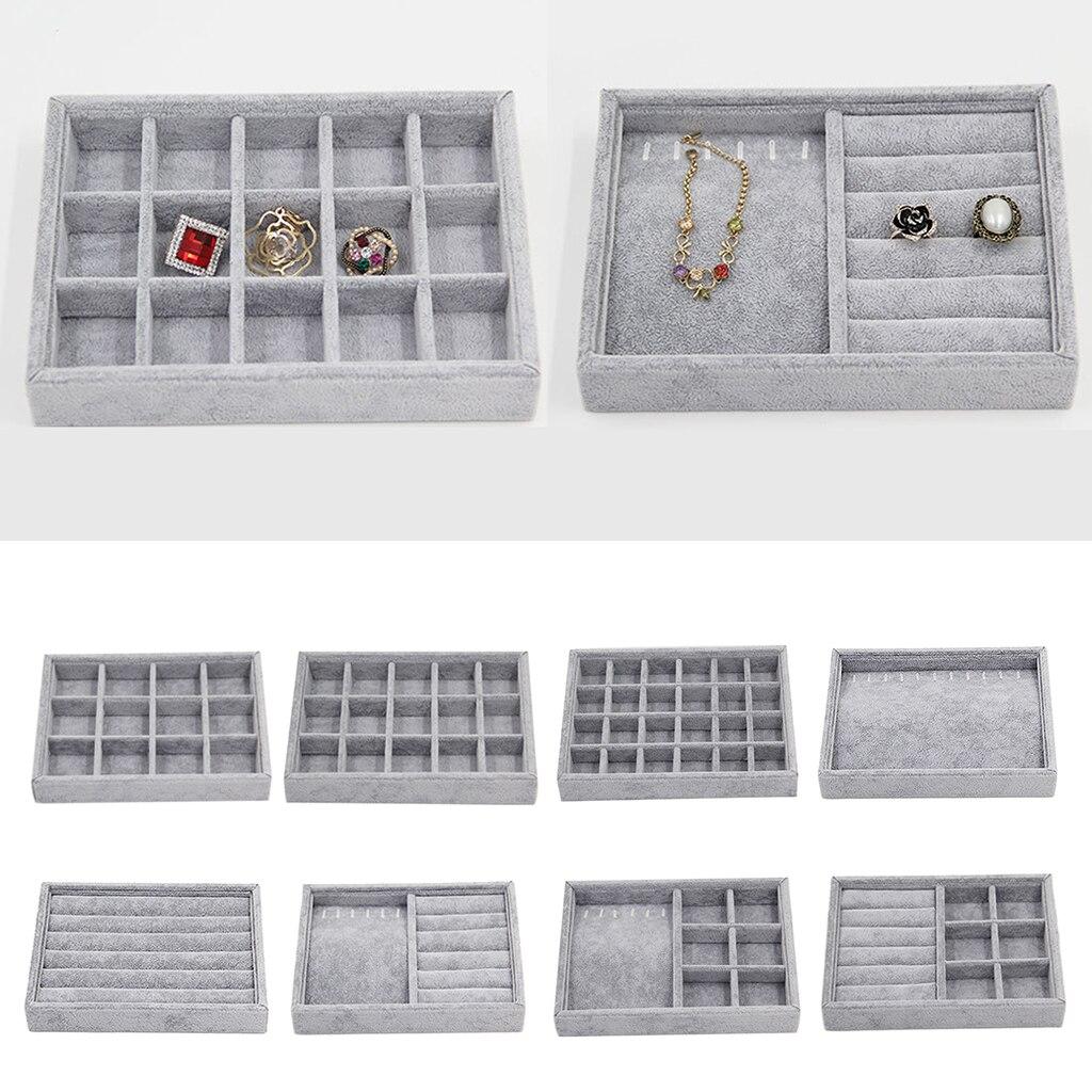 Bandeja organizadora de anillos en caja de terciopelo, joyero, estuche de exposición, caja de almacenamiento, contenedor de joyería