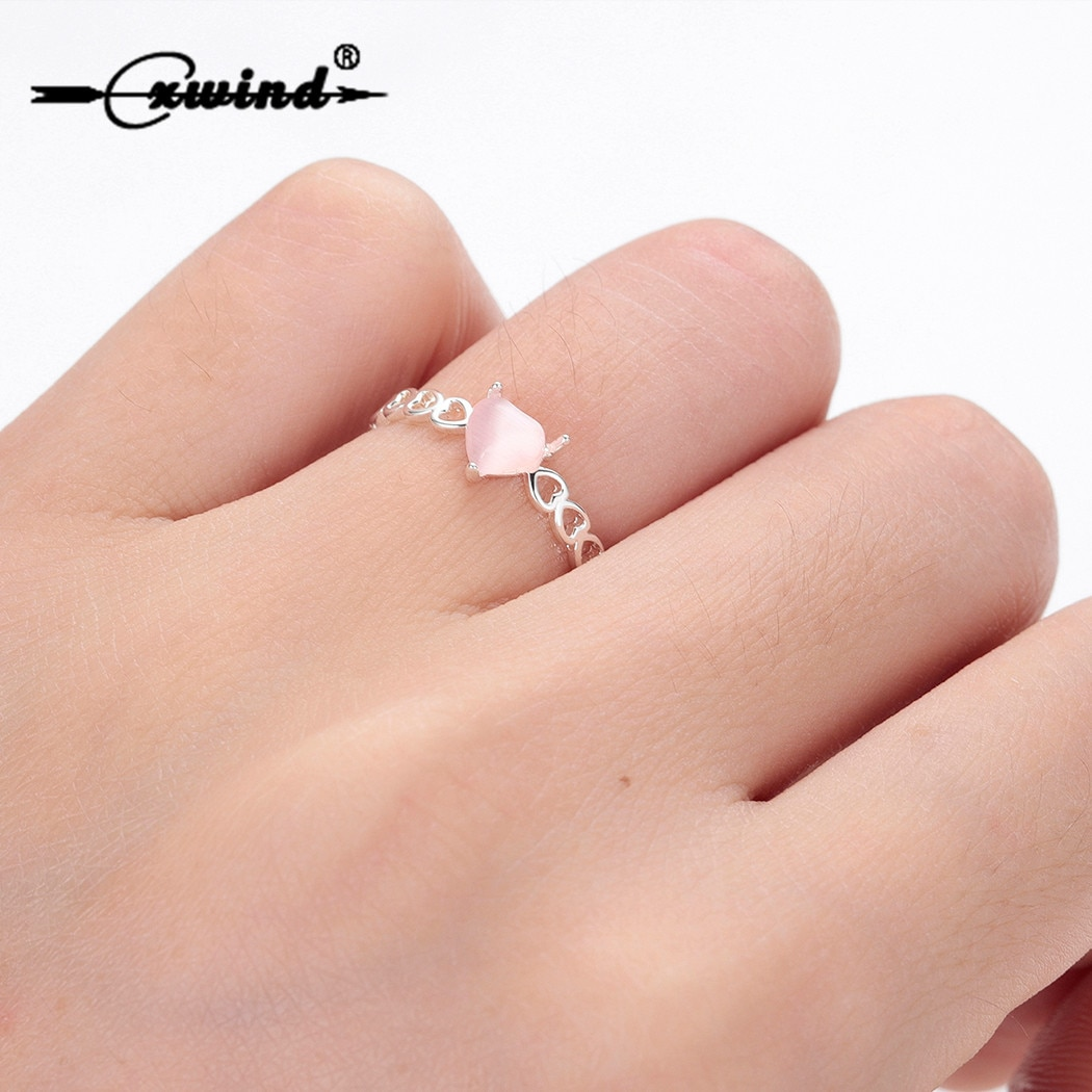 Anillos de corazón rosa a la moda Cxwind para mujeres anillo de circonita cúbica corazón hueco romántico nupcial Bijoux