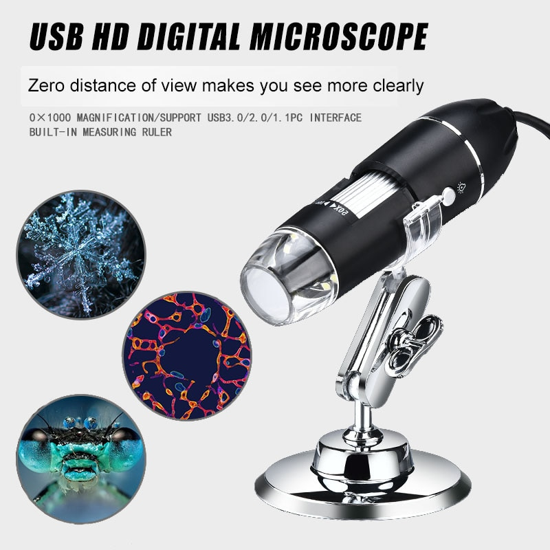 1600X USB Digital Microscope Electronic Camera Endoscope 8 LED Magnifier Adjustable Magnification with Stand For PC