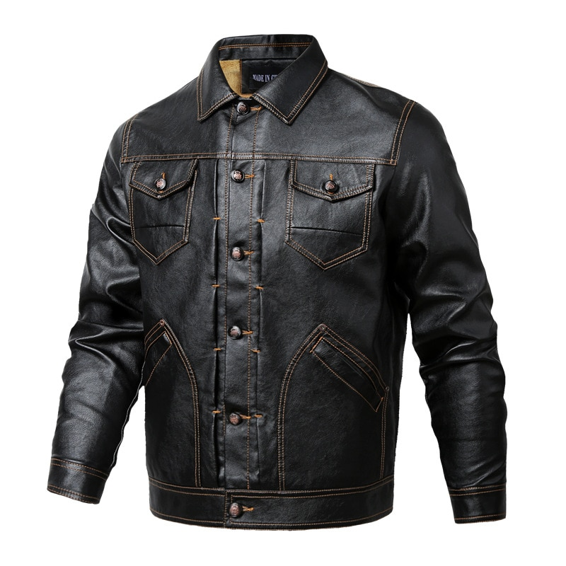 Men's New Solid Color Spring And Autumn Loose Large Casual Washed Leather Jacket Youth Plush Pocket Decoration Faux Leather Jack enlarge
