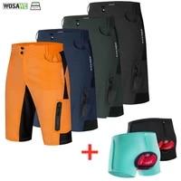 wosawe reflective mens mtb bike cycling shorts water resistance loose fit outdoor downhill riding racing pants bermuda ciclismo