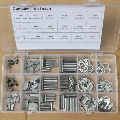 Woodruff-مجموعة من 18 مفتاحًا ، حلقة كبس من الفولاذ المقاوم للصدأ ، دبوس دائري ، مشبك E ، 180 قطعة