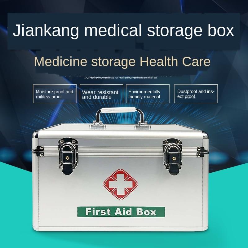 Botiquín de aluminio de 10/12/14 pulgadas para uso en el hogar, caja médica con múltiples capas de gran tamaño, botiquín de primeros auxilios