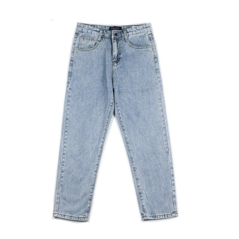 Hip Hop Straight Denim Trousers Male Autumn Jeans Men's Slim Fashion Washed Solid Color Casual Jean Pants Men Streetwear Wild