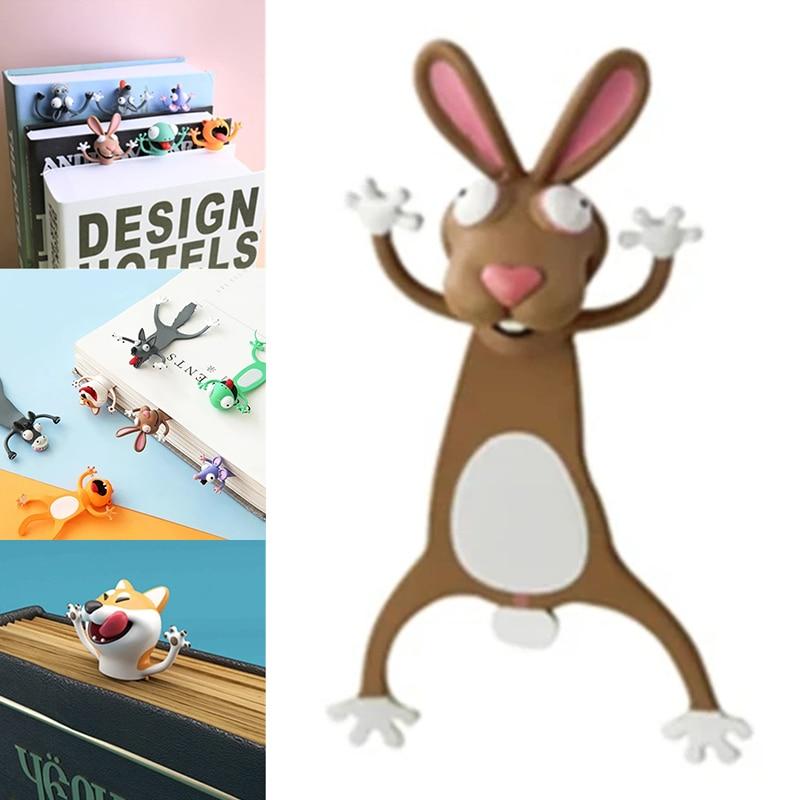 Creative 3D Stereo Bookmark Cute Cartoon Animal Marker Kawaii Cat Panda Of Pages