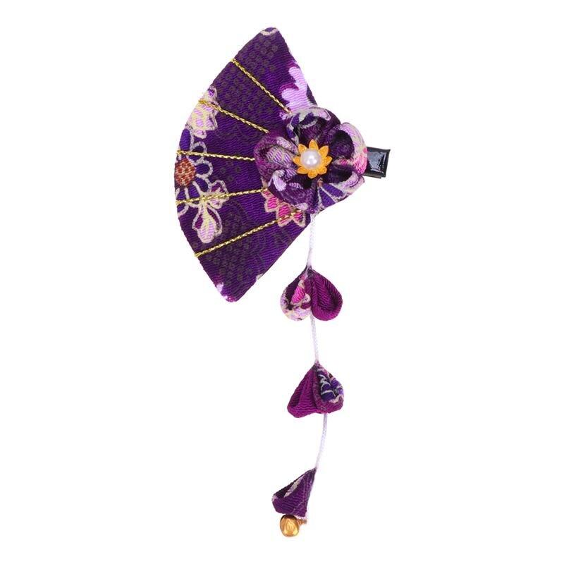 Horquilla púrpura de tela hecha a mano de estilo japonés Flor de impresión Clip de pelo delicado pasador borla horquillas decoración del pelo