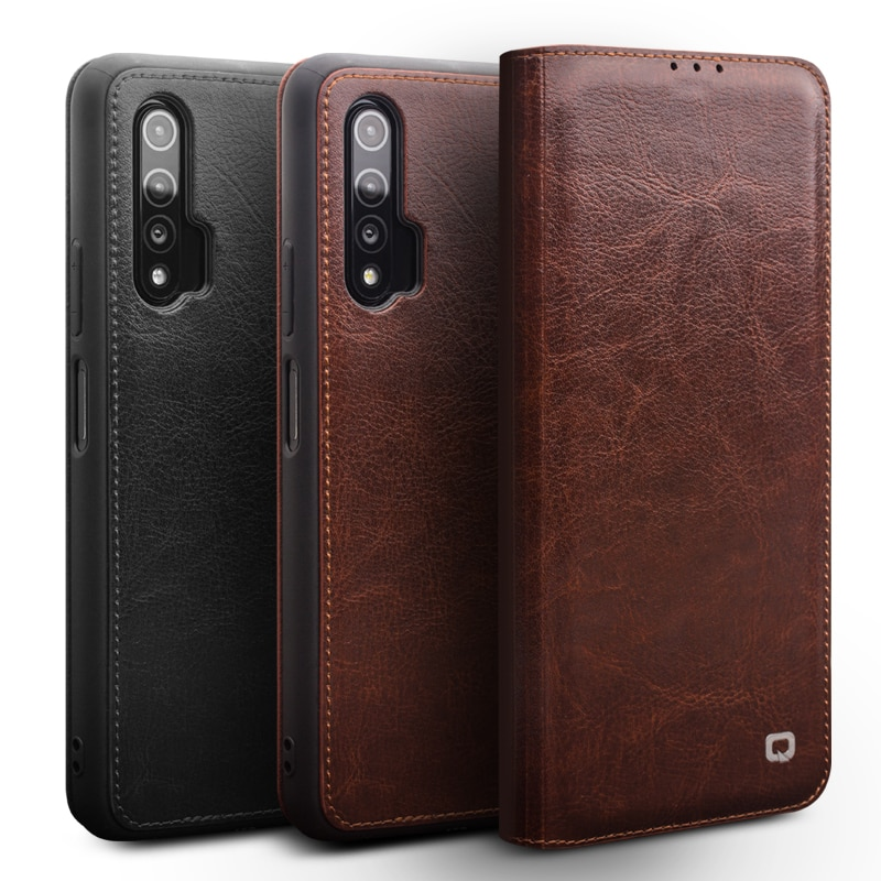 Funda Qialino moderna de cuero genuino para Huawei Nova 6, funda de teléfono ultrafina hecha a mano con ranura para tarjetas para Nova 6 6,57 pulgadas