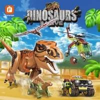 2021 new jurassic dinosaur park world ww2 helicopter car truck vehicle building blocks dinosaurs figures bricks toy for boys