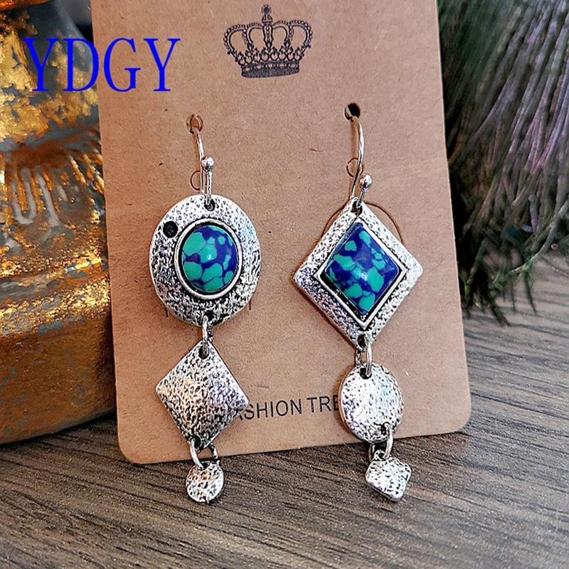 YDGY2019 long geometric Earrings large earrings handmade by Bohemia in Green Malachite exaggerated Earrings