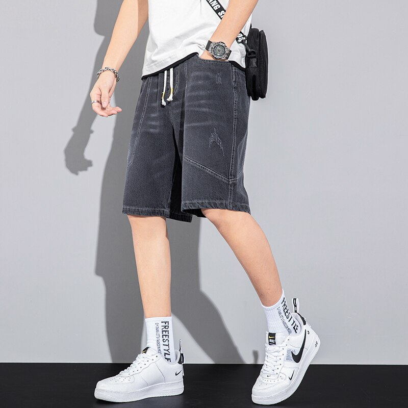 Jeans Casual Shorts Drawstring Summer Fashion Loose Plus Size Short for Men Casual Harajuku Pantolon Erkek Casual Shorts BG50KK