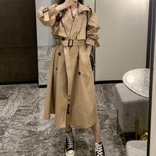 Trench Coat Women New Popular Windbreaker Casual Mid-length Khaki Korean Loose  British Style Jacket