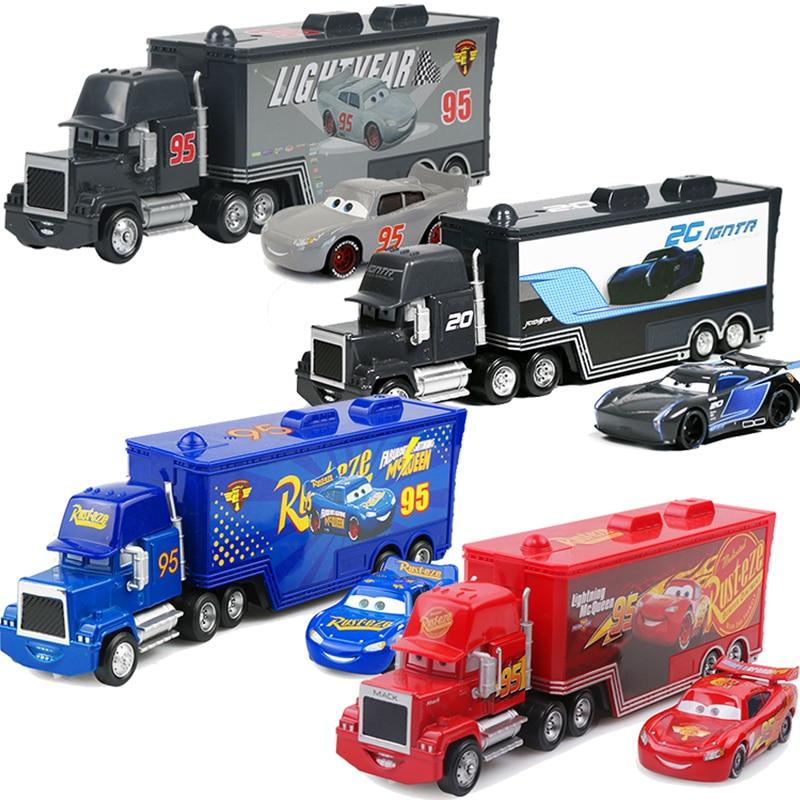 Disney Pixar Cars 2 3 Toys Lightning McQueen Jackson Storm Mack Uncle Truck 1:55 Diecast Model Car T