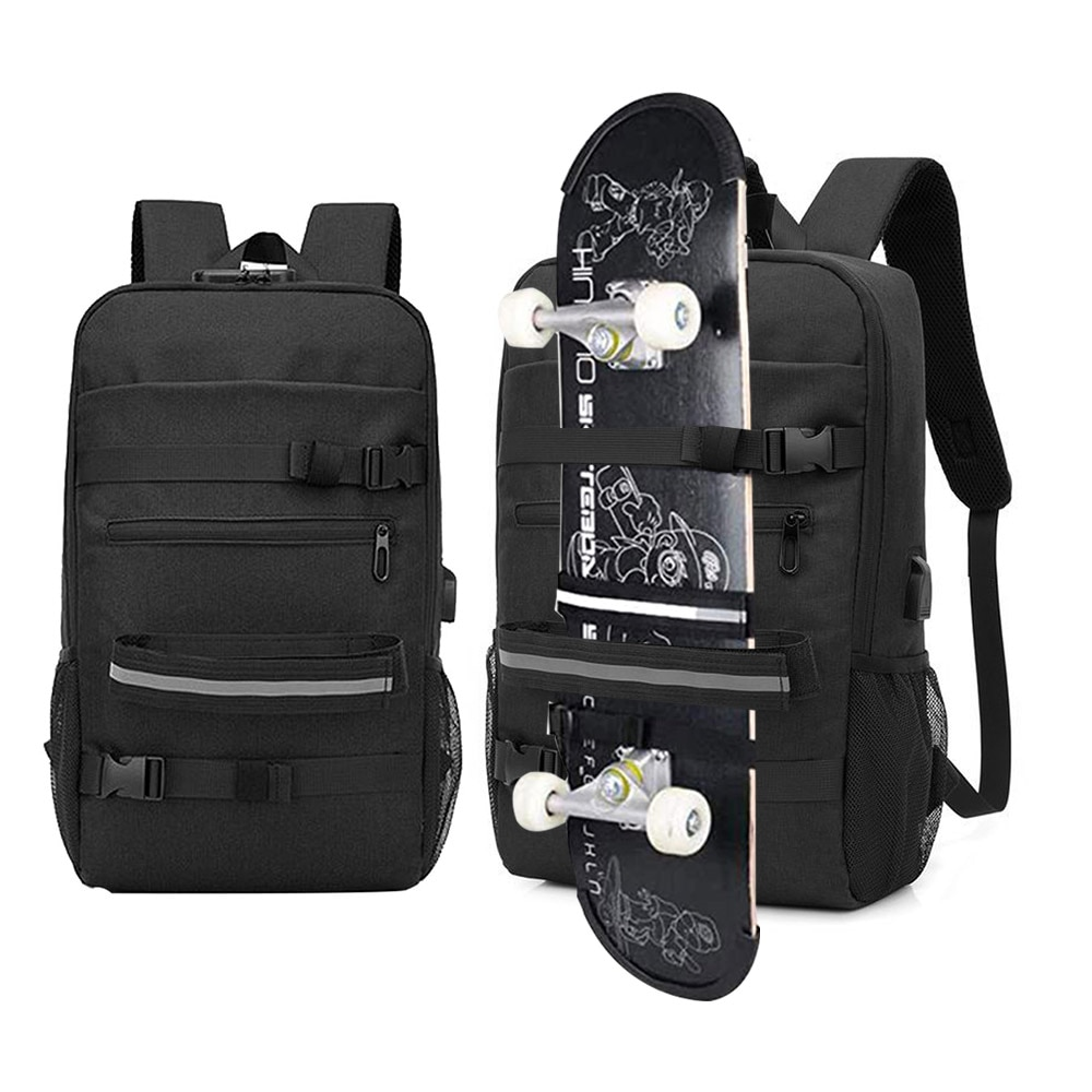 Skateboard Backpack Bag Anti-theft Password Lock USB Charging Shoulder Bag Men Women Leisure Travel  Computer Bag Longboard Bag