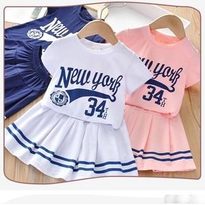 2-6 years Baby Girls Clothing Suit Toddler Sports T-shirt + Skirt 2PCS  Summer Children Baby Kids Baseball Student Clothing Sets