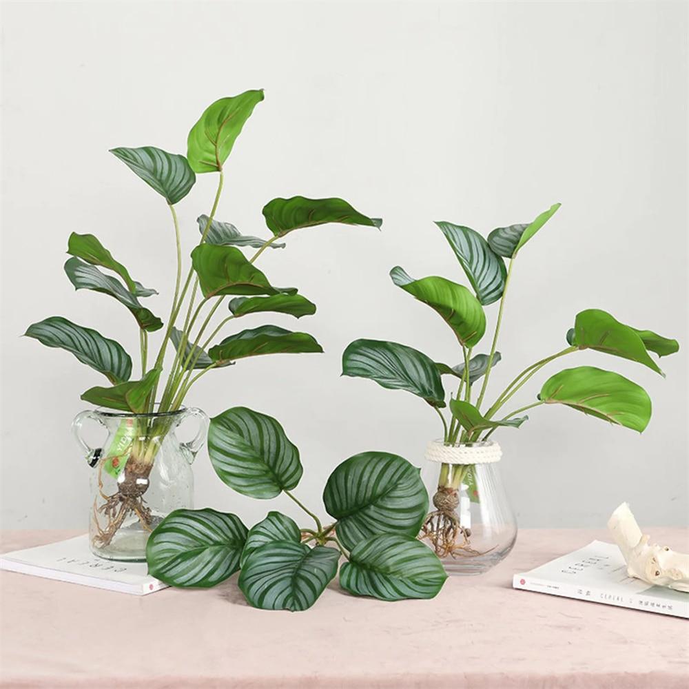 1 с длинным стволом искусственные растения, зеленые горшечные растения, листья черепахи, домашний декор, настоящие на ощупь растения, украше...
