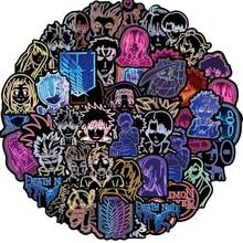 Luz de neón mixta de Anime, pegatina de ataque de Demon Slayer a Titan para teléfono, coche, portátil, bicicleta, pegatina de Graffiti Chico, 10/30/50 Uds.