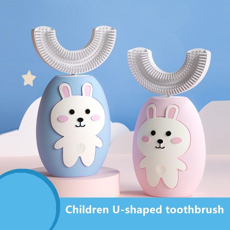 Cepillo de dientes eléctrico inteligente para bebé, tipo U, 360 grados, 3 modos, cabezas de cepillo de dientes sónico de silicona, carga USB, blanqueamiento dental