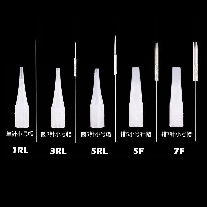 Microblading tattoo 1r / 3r / 5r / 5f / 7f (agulhas + dicas cada 50 pces) tampões permanentes da agulha da máquina da composição para os lábios da sobrancelha