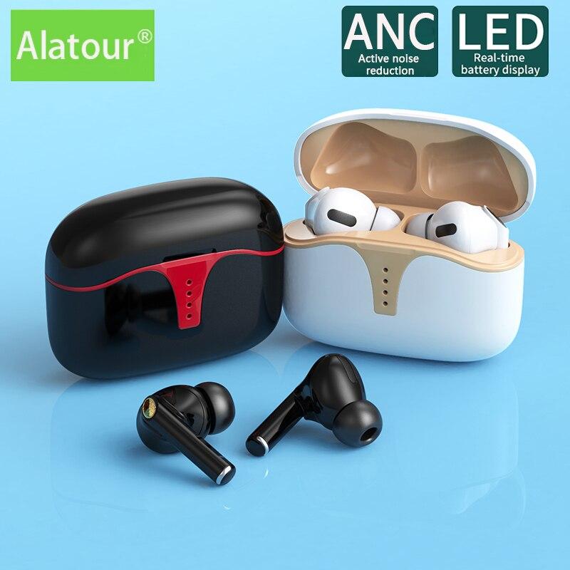 Alatour ANC active noise reduction Bluetooth Headset Sports earphone headphone Bluetooth 5.0 Charging Box Stereo Wireless