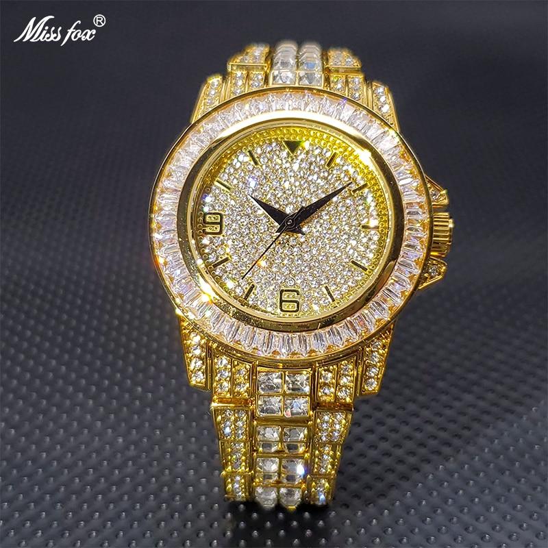 أفضل ماركة الرجال ساعات المعصم 18K الذهب الجليد خارج الماس الفاخرة مصمم Classica 40 مللي متر رجل ساعة مقاوم للماء ساعات عالية الجودة
