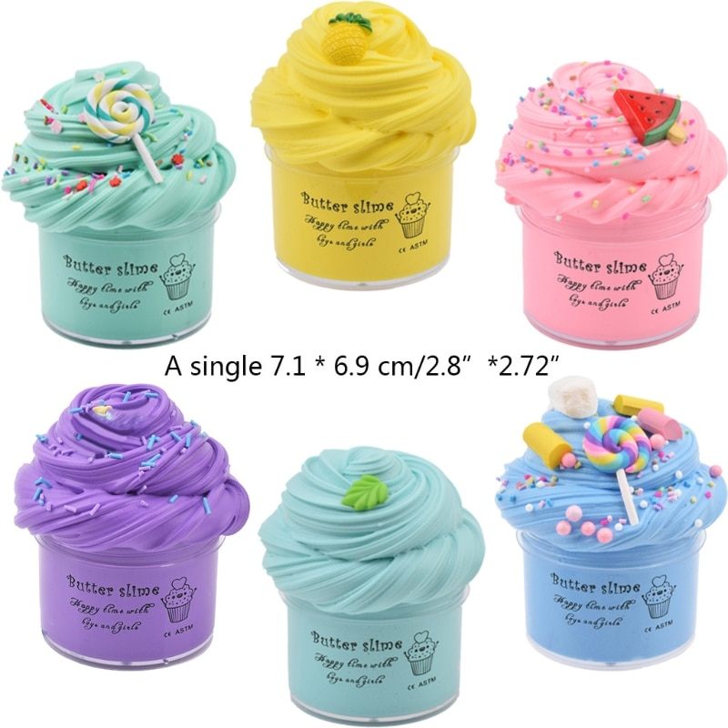 6Pc Butter Slime with Candy Slime Watermelon Slime and Pineapple Slime Soft Gift enlarge