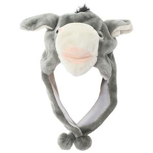 JOYHY Kids Girls Boys Cute Plush Earflap Grey Donkey Animal Hats Halloween Christmas Party Cosplay Winter Warm Beanies Caps