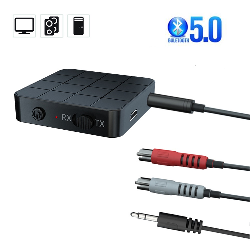Bluetooth 5.0 Audio Receiver Transmitter 3.5mm AUX Jack RCA USB Dongle Stereo Wireless Adapter with