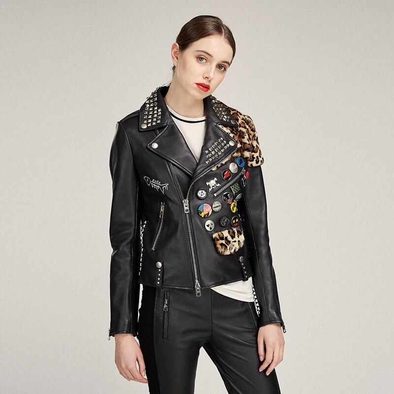 ZURICHOUSE Rivet Leather Jacket Women Personality Splice Leopard Natural Sheepskin Short Moto Biker Zipper Leather Coat
