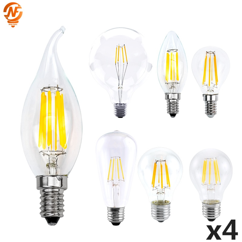 4 шт./лот светодиодные лампы Эдисона E27 G45 A60 C35 светодиодные лампы E14 G80 G95 G125 в стиле ламп накаливания 220V 2W 4W 6W 8W Ретро Винтажные стеклянная колб...