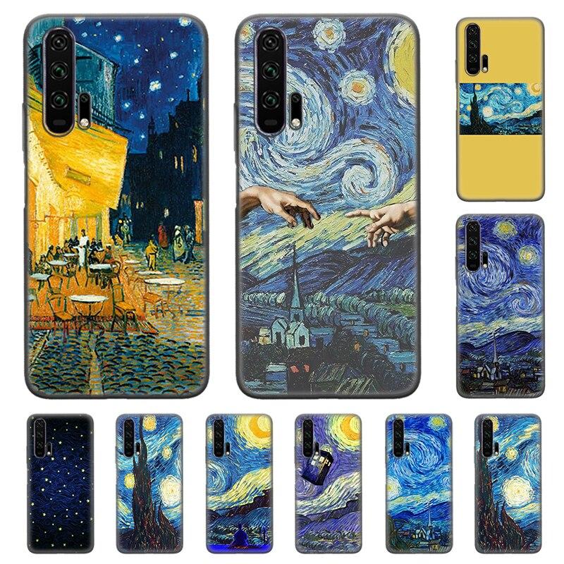Funda de silicona para Honor 8C 8X8 S 9X10 20 20S V30 Lite Pro Play 3 3e carcasa trasera de teléfono delgada Van Gogh noche estrellada