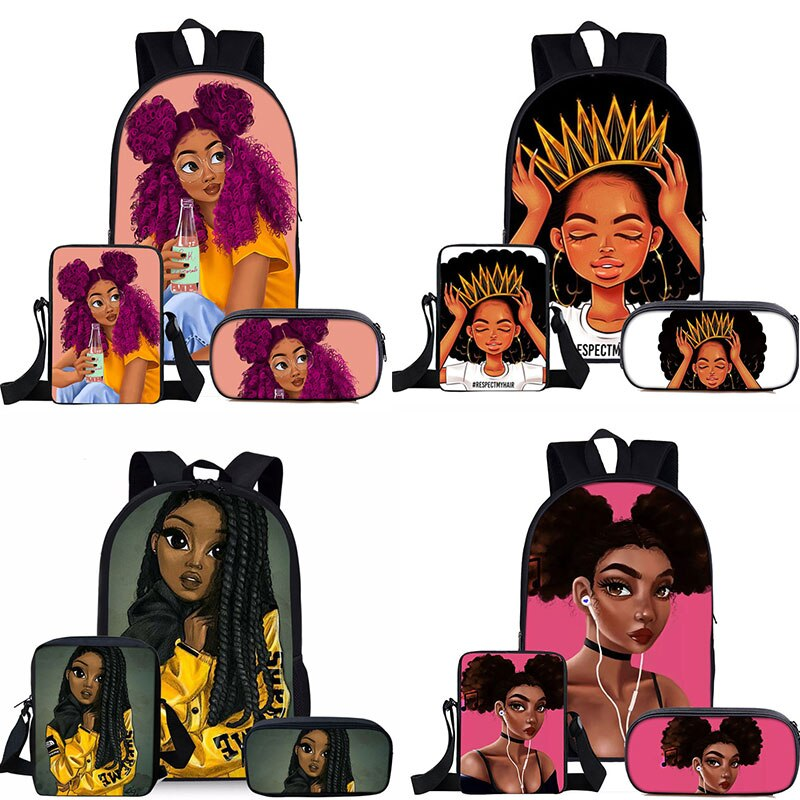 3Pcs/Set Children Cute School Bags for Kids Black Girl Magic Afro Lady Printing Backpack Teenagers Shoulder Book Bag Pencil Case