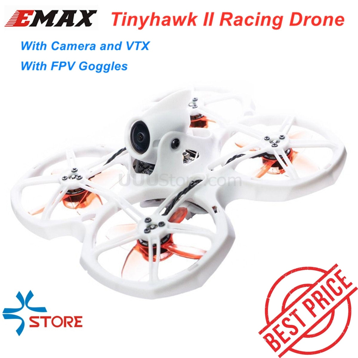 EMAX Tinyhawk II 75mm 1-2S Whoop FPV Racing Drone RC Quadcopter BNF RTF w/ FrSky D8 Runcam 2 Cam Camera 25/100/200mw VTX ESC