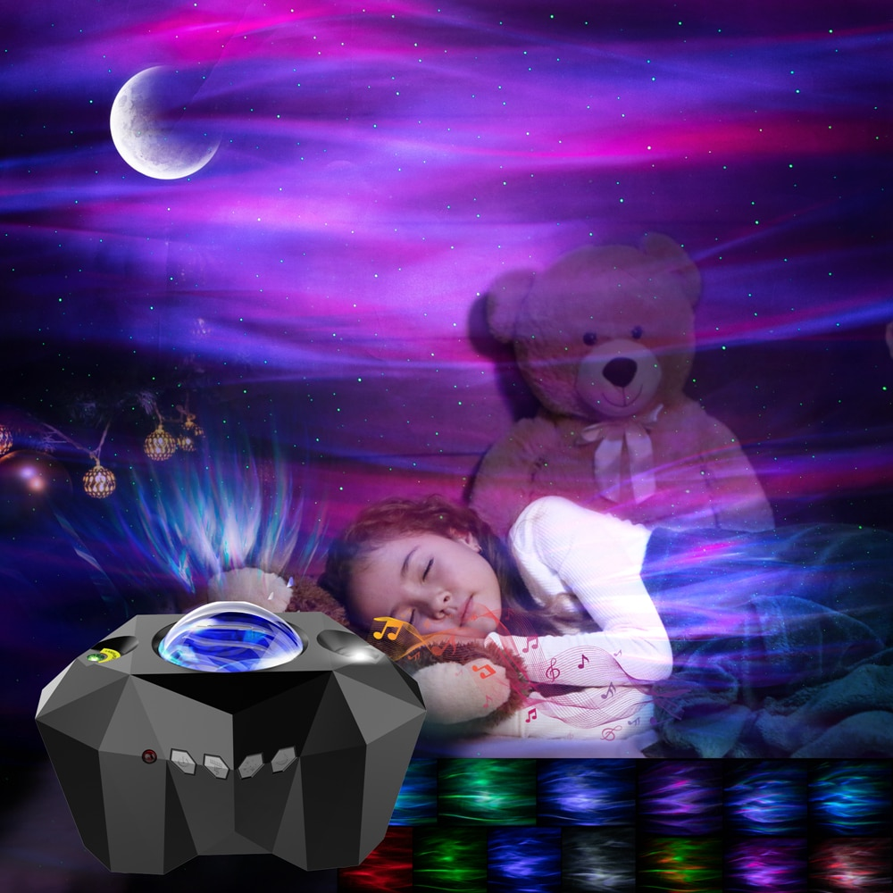 أورورا ستار أضواء الليزر غالاكسي السماء المرصعة بالنجوم المحيط موجة العارض ليلة ضوء ملون سديم القمر مصباح بلوتوث-متوافق الموسيقى