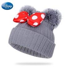 Gorro de punto con lazo de dibujos animados para niños, gorro cálido de lana con pompón de Mickey y Minnie Mouse de Disney, para invierno
