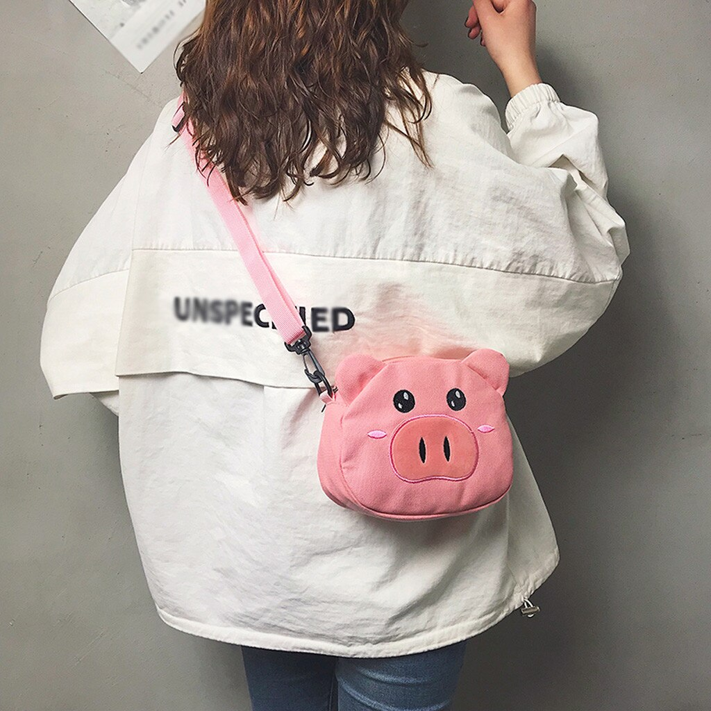 Bolsos de mano de mujer bolso de lona lindo cerdo bolsa de hombro bolsa mensajero de dibujos animados monederos estudiante Casual bolsa saco principal mujer #20