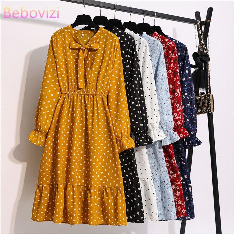 Mujer Casual otoño señora estilo coreano Vintage Floral Vestido camisero de gasa de manga larga arco Midi verano Zaraing mujer 2020 vestido