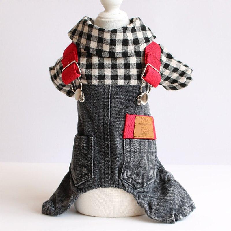 Ropa para mascotas ropa de perro jean cuadros Vaqueros chaqueta ropa overoles con doble bolsillos para cachorro Chihuahua de peluche