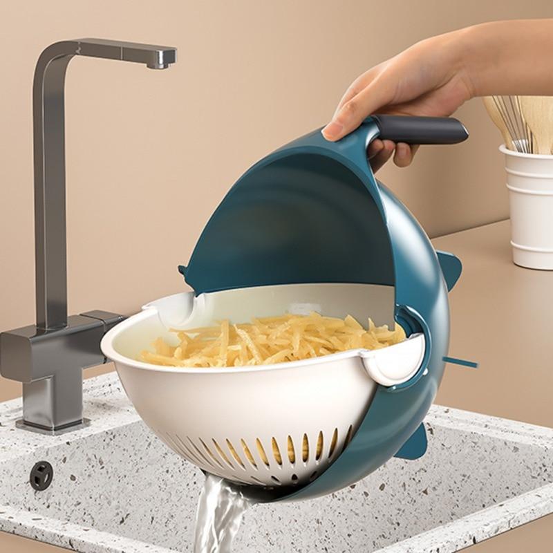 Cortadora y cortadora rotatoria de vegetales con 8 cuchillas de corte en dados, escurridor rotativo multifunción, rebanador de comida para cocina, máquina de ensalada